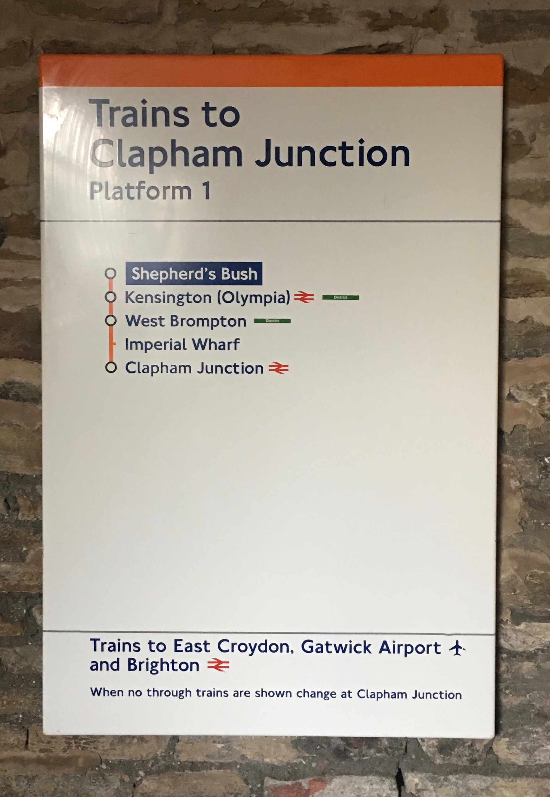 Clapham Junction  Overground Trains Enamel Sign