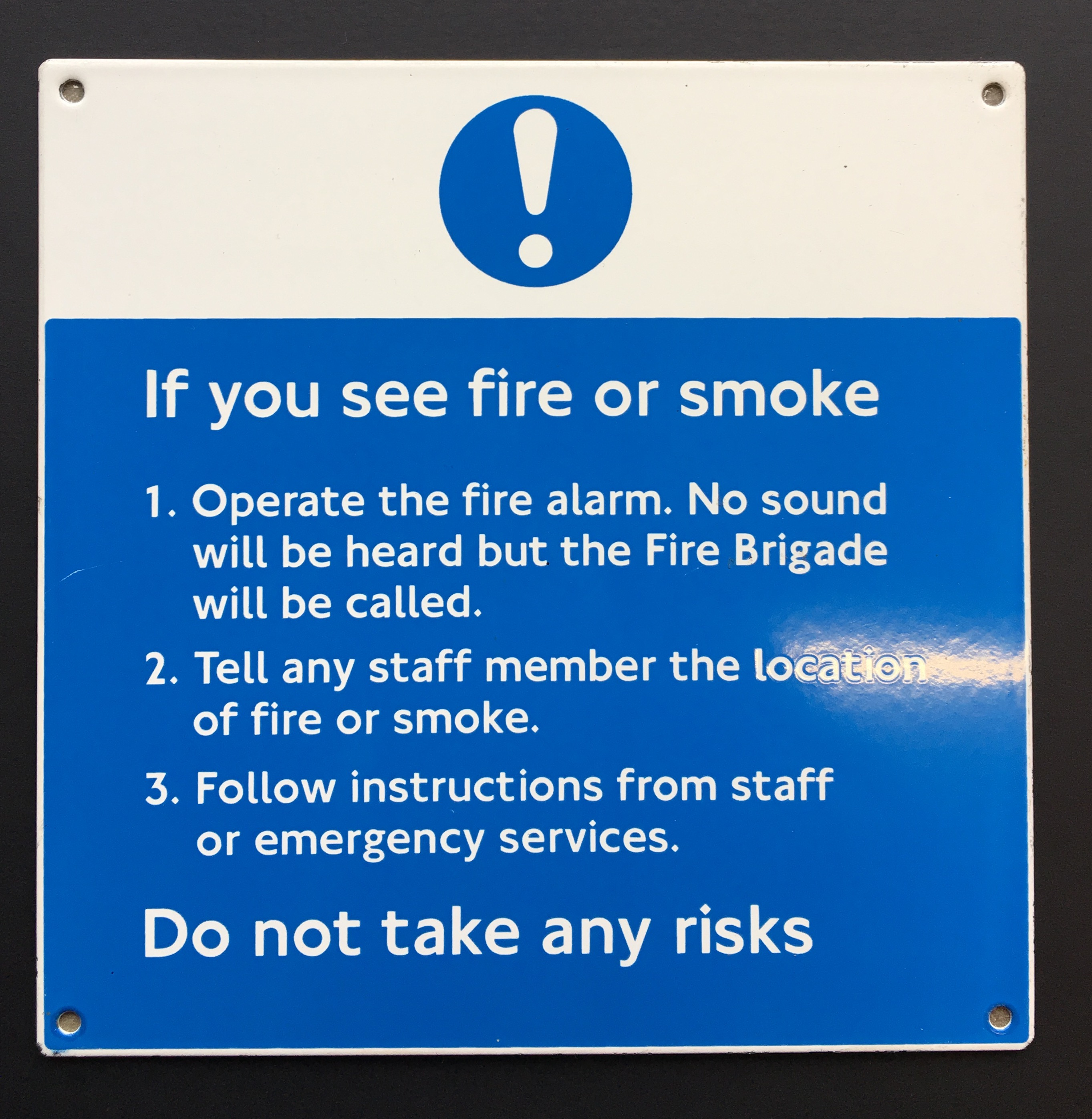 Fire or Smoke enamel Sign