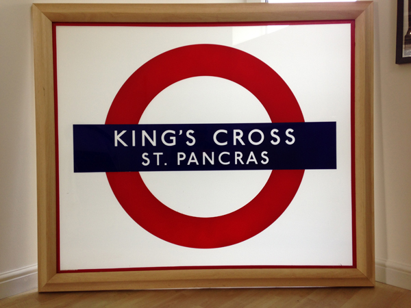 King's Cross Station Sign Roundel Glass