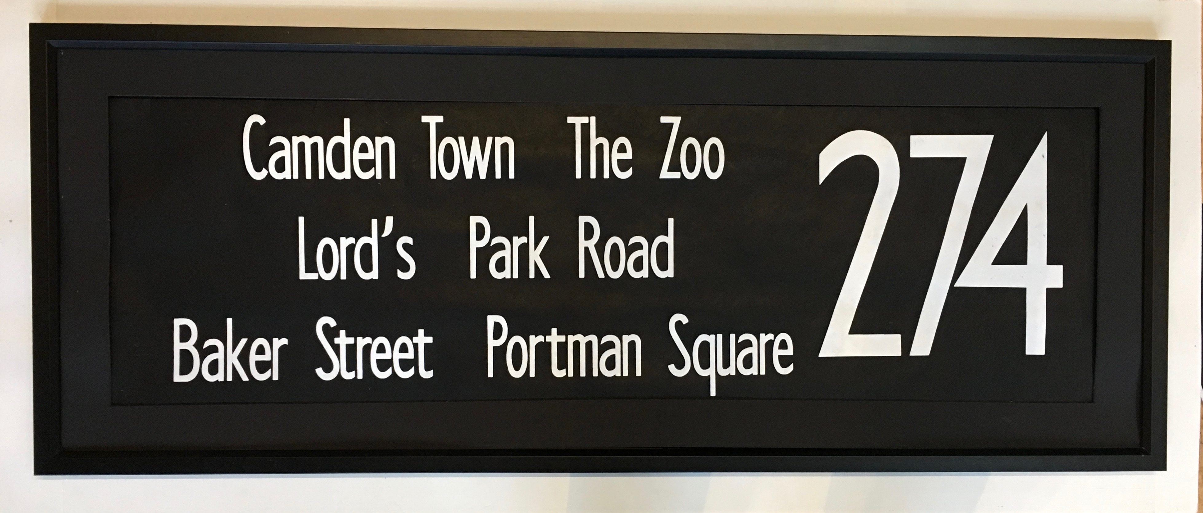 274 Camden Town, Zoo, Lord's Park Road, Baker Street, Portman Square